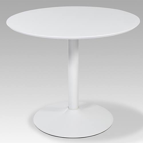 lifestyle4living Runder Esstisch in Weiß Hochglanz   Küchen-Tisch ist 90 cm breit   Kleiner Esszimmertisch ist für schmale Küche geeignet