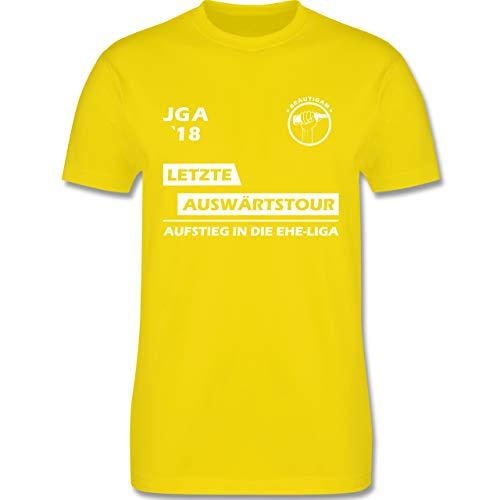 JGA Junggesellenabschied - JGA 2018 Letzte Auswärtstour Bräutigam - M - Lemon Gelb - L190 - Herren T-Shirt Rundhals