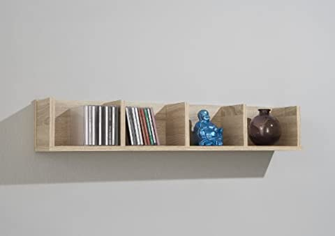Ash Colour Wood Wall Mounted Shelf Rack Storage Unit with 4 Sections by DMF