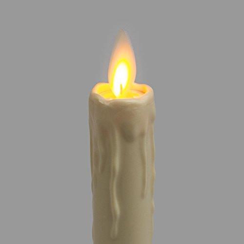 LuminalPark - Vela LED candelabro de cera con gotas, temporizador, a pilas, Luces Decorativas