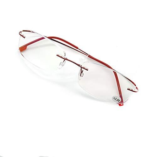 JEEDA Randlose Lesebrille Licht Titan Herren Damen Brille Rimless Reading Glasses 601(rot,+2.50)