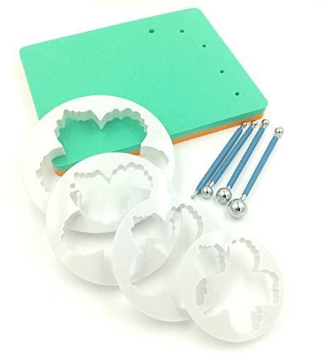 9 SET Foam Pad Veiner Modellierpad Pfingstrosen Rosen Ausstecher Ball Tools Metall Modellierset Modellierwerkzeug Fondant