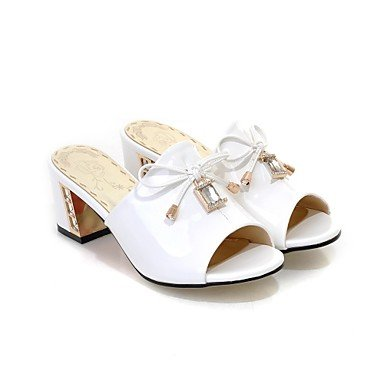 LFNLYX Donna pantofole e flip-flops Comfort estivo in pelle di brevetto Party & abito da sera Casual Chunky tacco Bowknot di cristallo blu bianco a piedi Blue