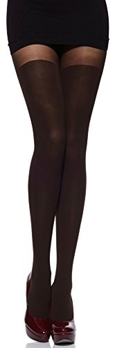 Merry Style Damen Strumpfhose mit Overknees Muster 80 DEN (Caffee, 1/2 (30-36))
