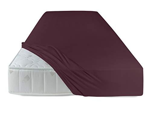 Mako-Feinjersey - hochwertiges Spannbetttuch in 60 fantastischen Farben & Kissenhülle in 17 ausgesucht harmonisierenden Farben, Spannbettuch 90-100 x 190-200 cm, weinrot