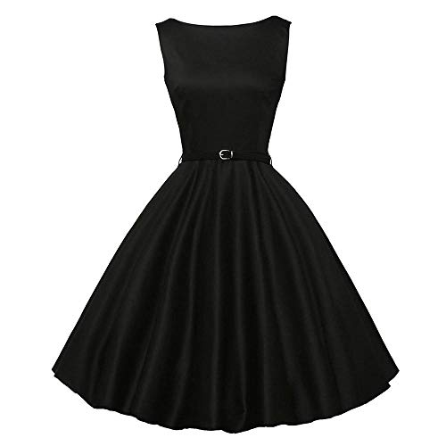 IMJONO Rock Women Vintage Bodycon Sleeveless Casual Retro Evening Party Prom Swing Dress(Medium,Schwarz)