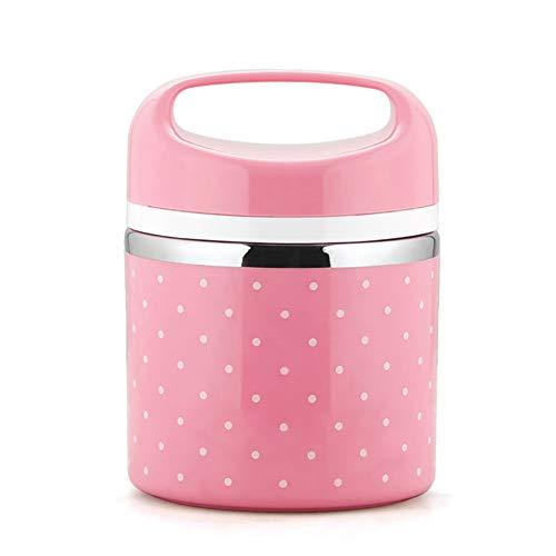 Ingrirt5Dulles Edelstahl-tragbare thermische Brotdose-Kinderpicknick-Vorratsbehälter, umweltfreundlich und einfach zu tragen, geeignet für Schulen, Büros, Picknicks und Tourismus Rosa