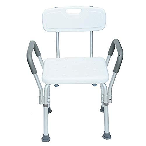 LNRTOLV Duschhocker leichte höhenverstellbare badewanne Sitz zurück und arm ältere badehilfe behinderte Komfort Design ältere faltung hocker badestuhl aluminiumlegierung Anti-rutsch-hocker,grau,A