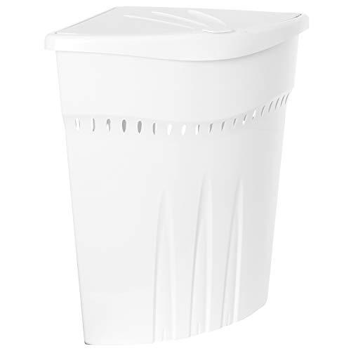 Plast Team Eckwäschekorb mit Deckel, 45 L, weiß, Einheitsgröße