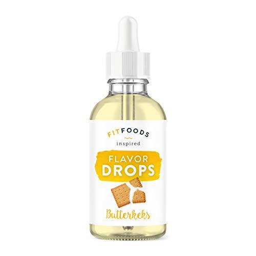 FITFOODS Flavor Drops Butterkeks - Aroma Tropfen ohne Kalorien - Flüssig Süßstoff - Lebensmittelaroma - Geschmackstropfen zum Verfeinern von Speisen und Getränken - 1er Pack (1 x 30g) -