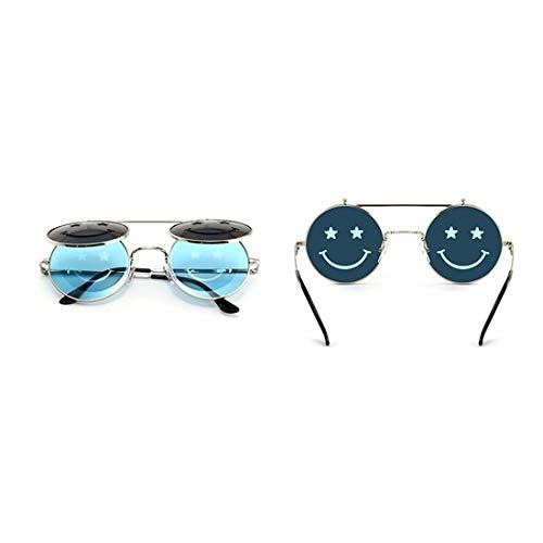 Easy Go Shopping Steampunk Style Flip-Up Sonnenbrillen für Frauen UV-Schutz für das Fahren von Ferien Sommer Strand. Sonnenbrillen und Flacher Spiegel (Farbe : Blau)