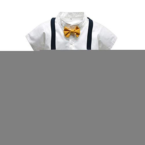 Sommer Haut Feuchtigkeitspflege (TTLOVE Kleinkind Baby Boy Bekleidung Kurzarm Fliege Gentleman Infant Boys T-Shirt Tops + Feste Shorts Outfits Kleidung, Jungen Sommer Bowtie Shirt HosenträGer Outfit Set (Weiß,80))