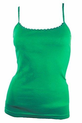 Damen Träger Top, Unterhemd mit Spaghettiträger aus 100% Baumwolle Grün - Emerald