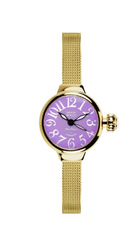Glam Rock Art Deco Collection Women's Quartz Watch with Purple Dial Analogue Display and Gold Stainless Steel Plated Strap 0.96.3092