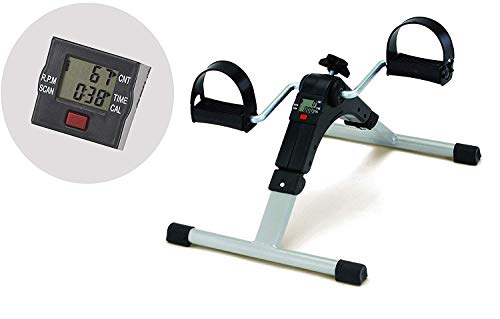 Istara Portable Folding Fitness Pedal Stationary Under Desk Indoor Exercise Bike Arms, Legs, Physical Therapy Calorie Counter