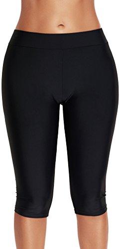 PANOZON Mujer Pantalones Deportivos de Bañador Largos para Nadar Color Puro Negro Mar Piscina 4X-Large...
