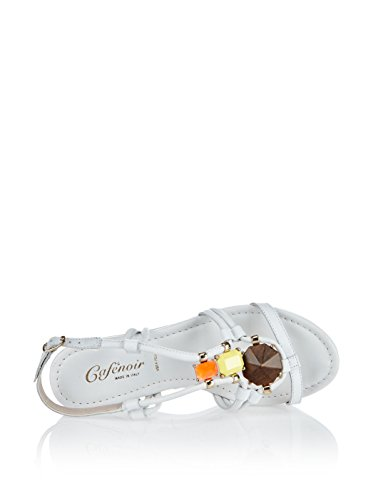 CAFè NOIR MQ105 ghiaccio sandali donna pelle zeppa pietre colorate Bianco