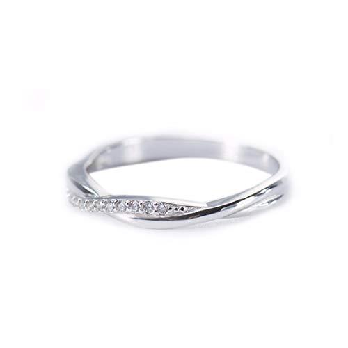 MTWTM Sterling Silber Ring Fashion Seiko Linie Ring Diamond Minimalistisch Akribisch, Nr. 5.