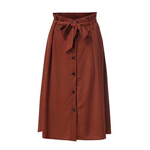 CUTUDE Damen Röcke, Frauen Sommer Hohe Taille A Linien 2019 New Mode Causal Lace Button Slim Skirt Midi Röcke (Braun, XXX-Large) (Girl Business Kostüm School)