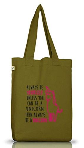 Lustiger Jutebeutel Stoffbeutel Earth Positive von Shirtstreet24 mit Always Be A Unicorn Aufdruck Leaf Green