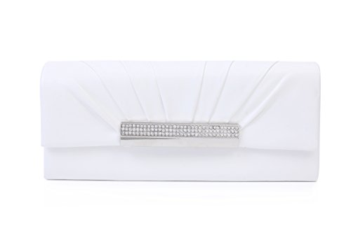 Damara Damen Glatt Kette Clutch Adlig Hochzeit Handtasche,Weiß Weiß