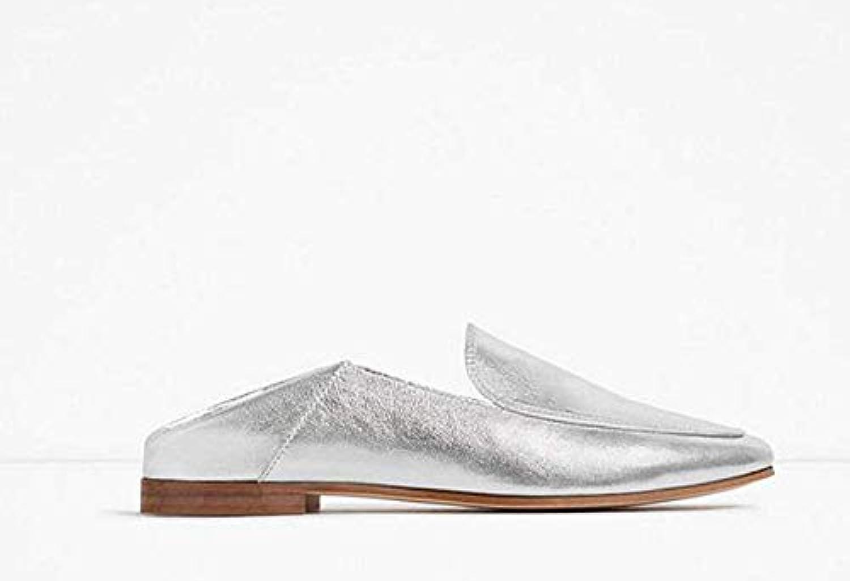 Fuxitoggo Pelle e Scarpe Piatte, argentoo, 37 (Coloreee   Come Mostrato, Dimensione   Taglia Unica)   Economici Per    Uomo/Donna Scarpa