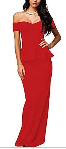 SunIfSnow - Chemise de nuit spécial grossesse - Moulante - Manches Courtes - Femme - rouge - XL