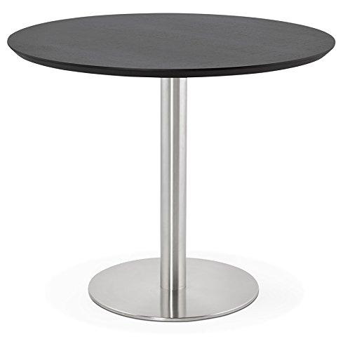 Alterego Petite Table de Bureau/à Diner Ronde 'Indiana' Noire - Ø 90 cm