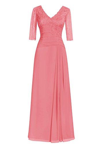 Dresstells, A-ligne robe longue de mère de mariée, robe de soirée formelle, robe de demoiselle d'honneur Corail