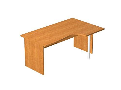 Ideapiu Schreibtisch mit Ausschnitt in Finish Wenge mit Struktur pannellata in Laminat Tischplatte Ausschnitt Seite DX Desk with Panel Legs 1600X600/800/1000x 720h SP./Thick. 22 - Wenge Laminat