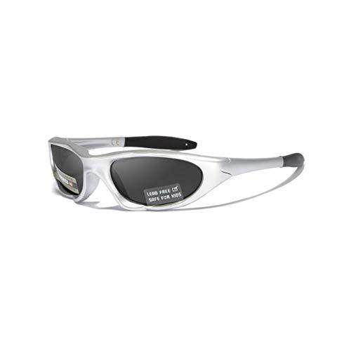 WITTMANN Sportliche Kindersportbrille Kinder Sportstyle Polarisierte Sonnenbrille UV400 Schutz Sportbrille (Farbe : Silber)