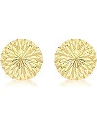 Carissima Gold 9 ct Yellow Gold Diamond Cut Half Ball Stud Earrings