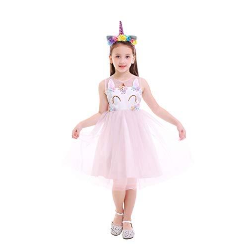 OBEEII Einhorn Prinzessin Kostüm für Kinder - Komplettes Einhorn Kostüm für Mädchen Kleid mit Einhorn Stirnband Zu Geburtstag Cosplay Kostüm Rosa 6-7 Jahre