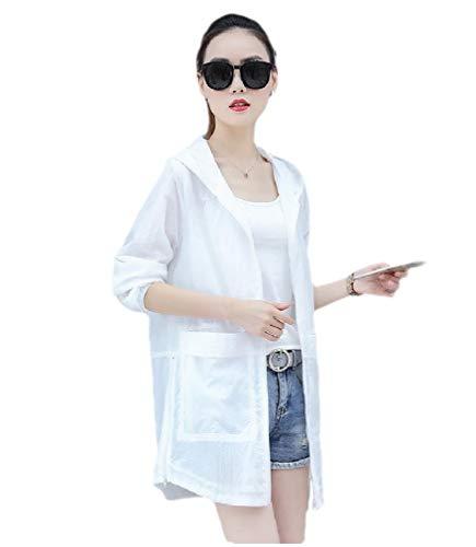 CuteRose Womens Solid Mid Long Sunscreen Top Coat Hooded Windbreaker Jacket White 2XL