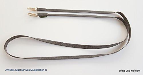 elropet Gummierte Zügel m. Zügelhaken Silber Gummizügel schwarz (3,50m XXL)