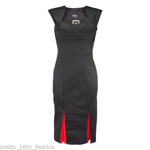 Pretty Kitty Fashion 50s Black Pencil Wiggle Dress