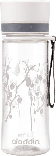 Aladdin AVEO Trinkflasche aus Tritan-Kunststoff, 0.6 Liter, White Lotus, Auslaufsicher, Durchsichtig, Wasserflasche Fahrradflasche -