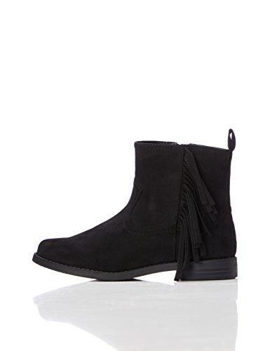(RED WAGON Mädchen Ankle Boots Stiefel mit Fransen, Schwarz (Black), 32 EU)