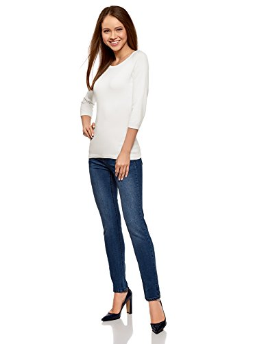 oodji Collection Femme Pull Basique avec Manches 3/4 Blanc (1200N)