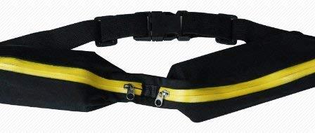 Yi-Qiu Laufgürtel/Gürteltasche - Universal Dual Pocket erweiterbare Tasche - für Fitness, Laufen, Joggen, Sport, Radfahren, Wandern, Hund, Geld, Reisen - passend für alle Handys -