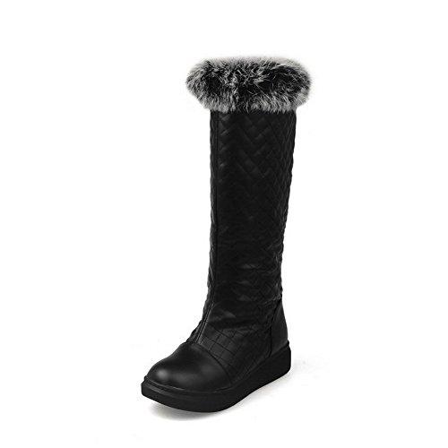 AllhqFashion Damen Weiches Material Hoch-Spitze Rein Ziehen auf Niedriger Absatz Stiefel, Weiß, 37