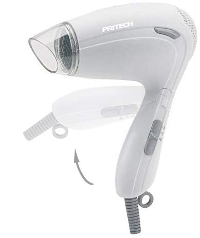 PRITECH - Asciugacapelli da viaggio pieghevole TC-2259, funzione Ionic, con beccuccio concentratore di aria, 2 velocità, ideale per il viaggio, piccole dimensioni bianco