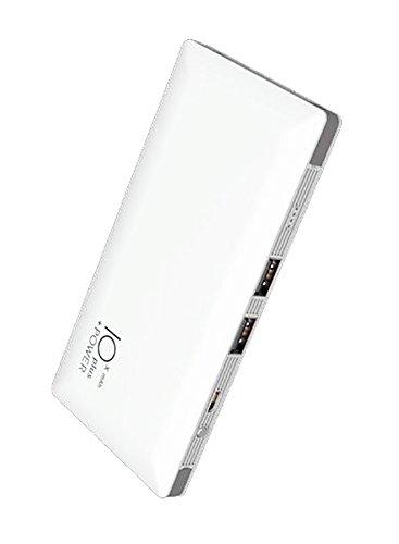 Power Bank Universale da 10000mAh Batteria Esterna Portatile d'emergenza con 2 Porte USB + Quick Cable Technology Cavo Micro USB e Cavo Lightning Apple integrati internamente (Bianco)