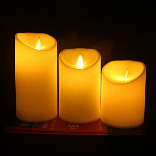 Wandleuchte Wachs Kerze (YANGSANJIN Flammenlose Kerzen,LED Kerzen,Flammenlose LED-Kerzen, Batteriebetriebene Stimmungslichter aus echtem Wachs mit 3 flammenlosen Kerzen)