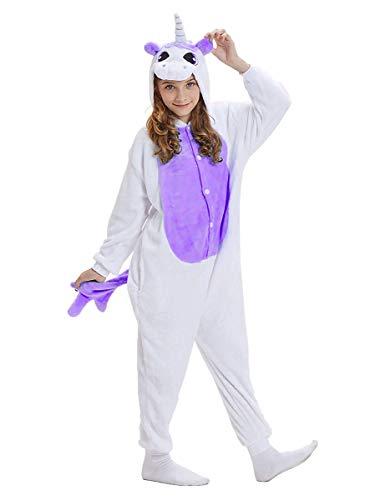 Mescara Einhorn Kostüm Pyjama Jumpsuit Cosplay Schalfanzug Festliche Anzug Flanell Tierkostüm Kartonkostüm Tierschalfanzug (Lila, M: für Höhe 152-165CM)