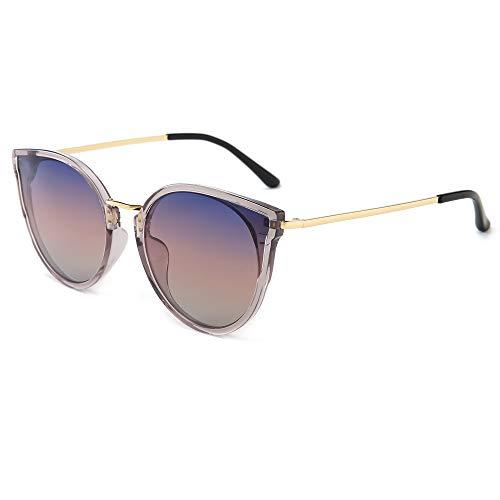 SUNGAIT Sunait Retro Vintage Cat Eye Sonnenbrille für Damen, polarisiert, 100% UV-Schutz, (Transparent Grey Frame/Purple Gradient Lens), Einheitsgröße