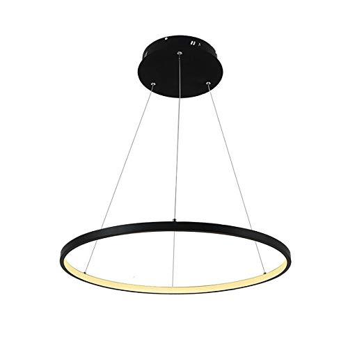 1 Ring Pendelleuchte LED Hängeleuchte Moderne Beleuchtung Wohnzimmer Esszimmer Schlafzimmer Lampe, Schwarz 80cm Warm Licht -