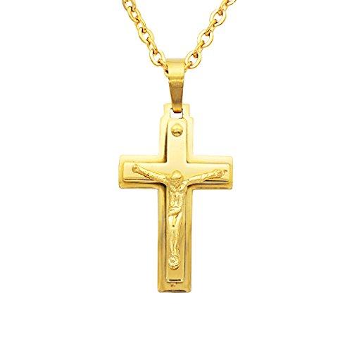 MagiDeal Zweistöckig Edelstahl Art Und Weise Halskette mit Jesus Kreuzanhänger für Männer Frauen Gold (Für Gold-jesus-armband Männer)