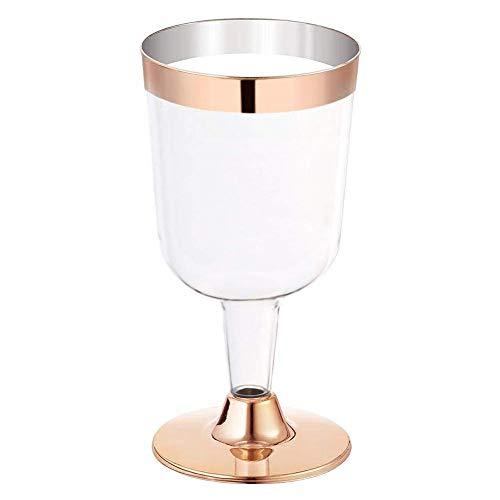 Einweg Kunststoff Rotwein Glas, 6 STÜCKE 190 ML Einweg Silber Rand Phnom Penh Rose Gold Seite Weinglas Becher, Einweg Heißprägen Eisbecher Testgetränk Rose Gold Dessert Cup