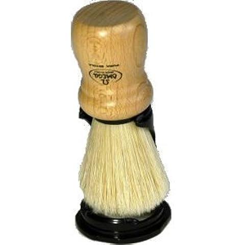 Omega Wood Handle Natural Bristle Shave Brush with Holder by Omega